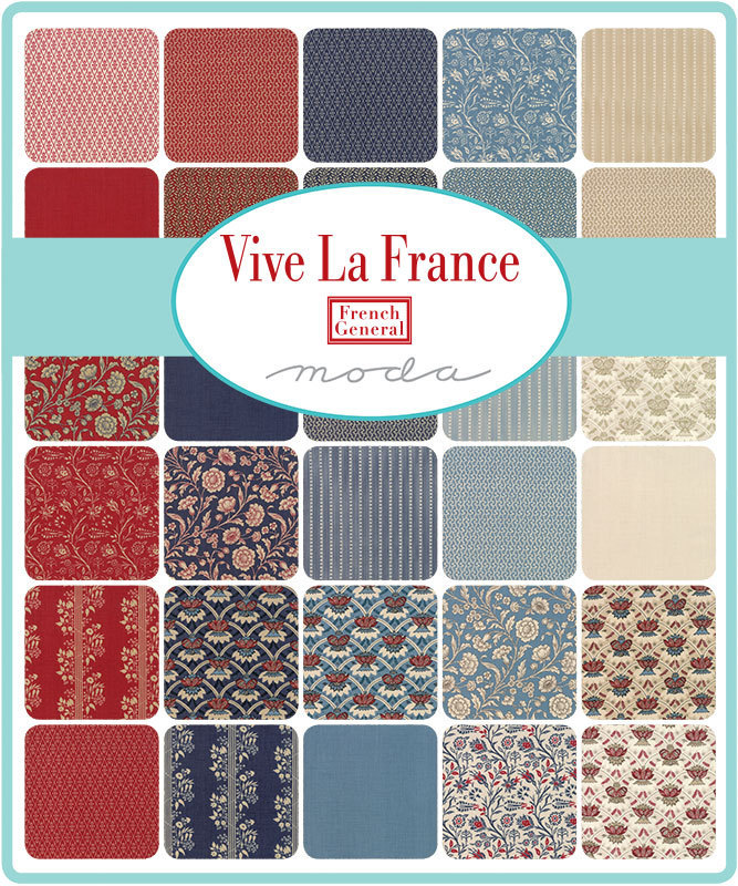 Moda Tissu Vive la France Amboise Indigo-par 1//4 mètre