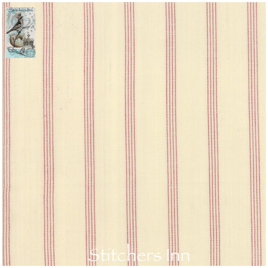 Northport Silky Wovens - Ivory and Red Stripe