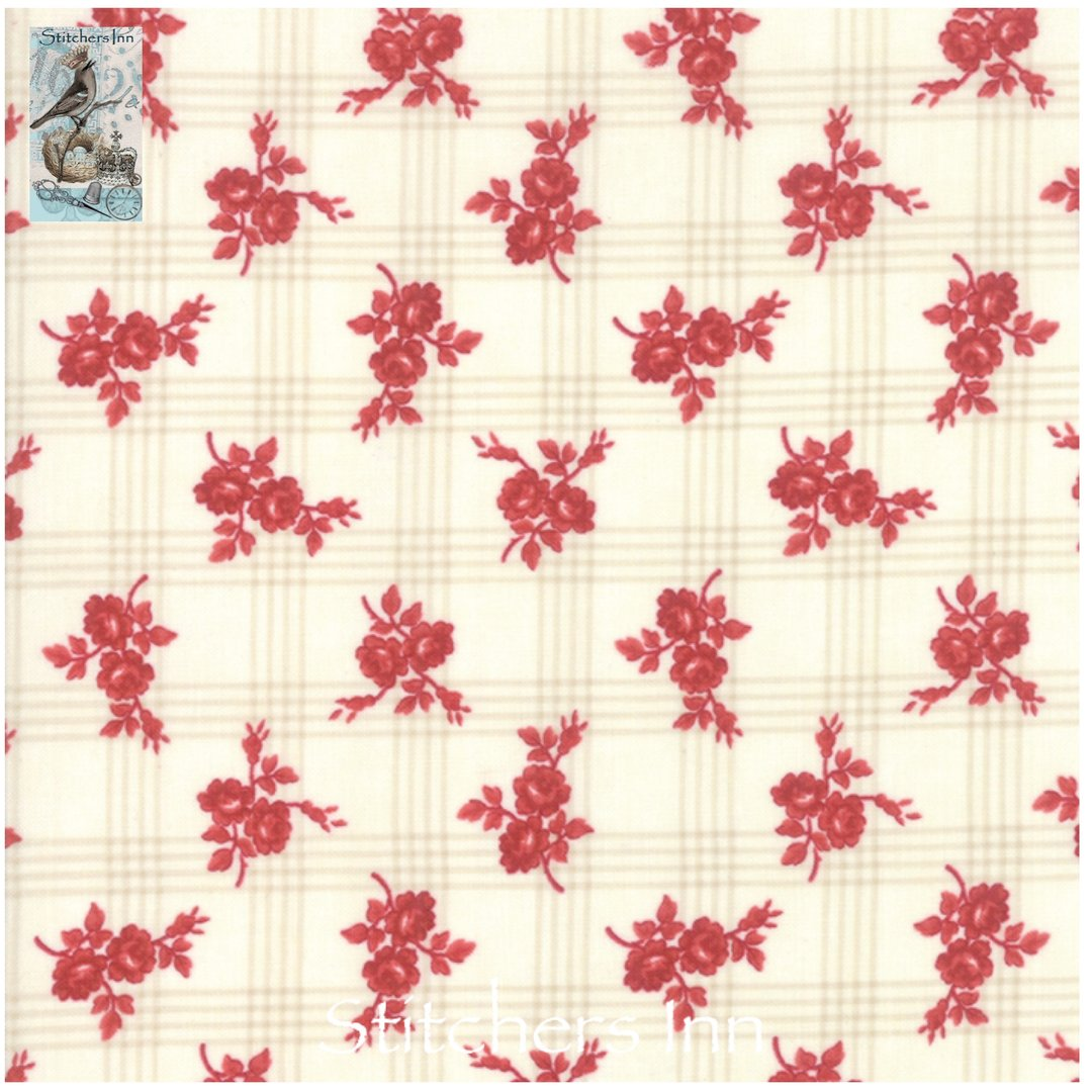 Northport Prints - Cream and Red Gingham Rose