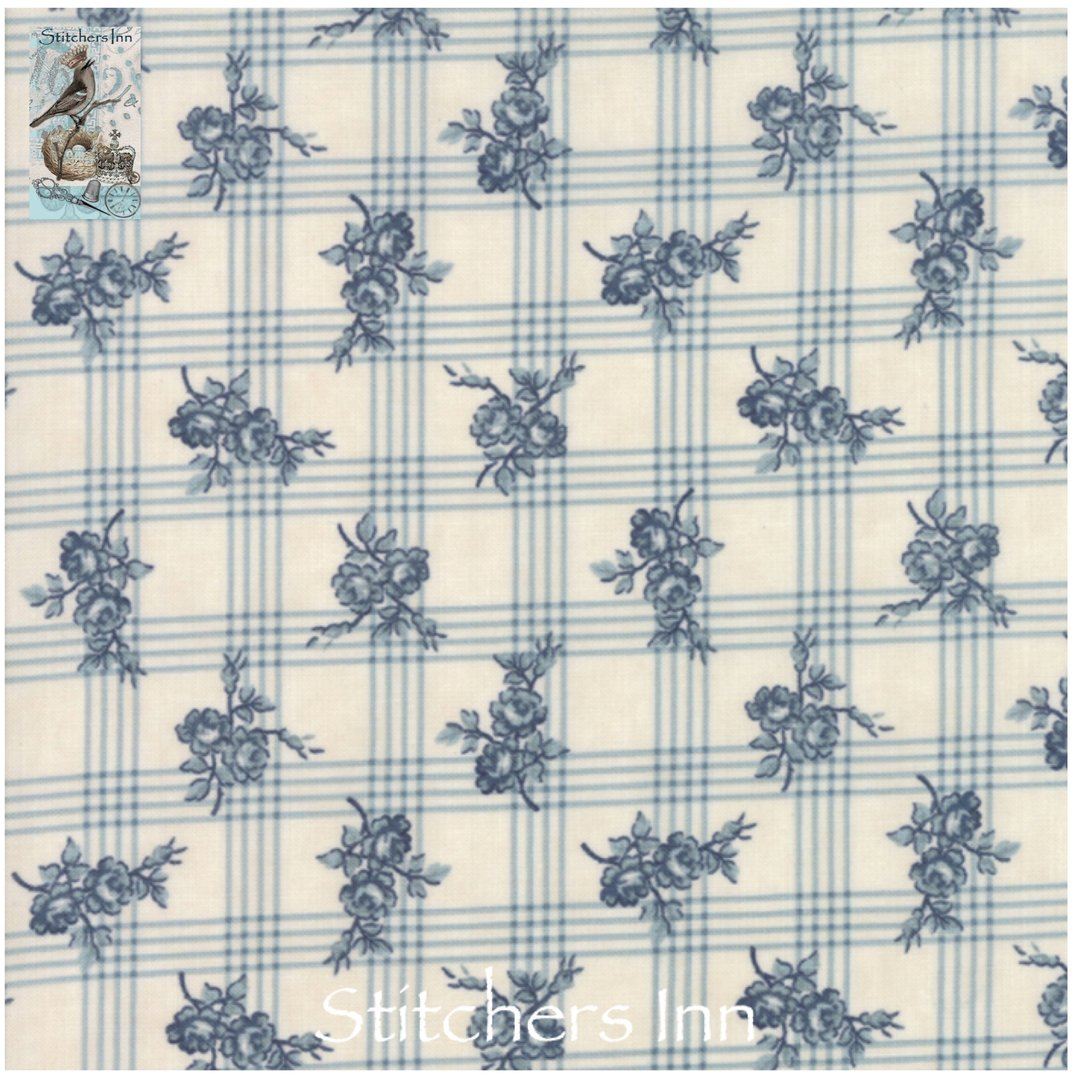 Northport Prints - Cream and Blue Gingham Rose